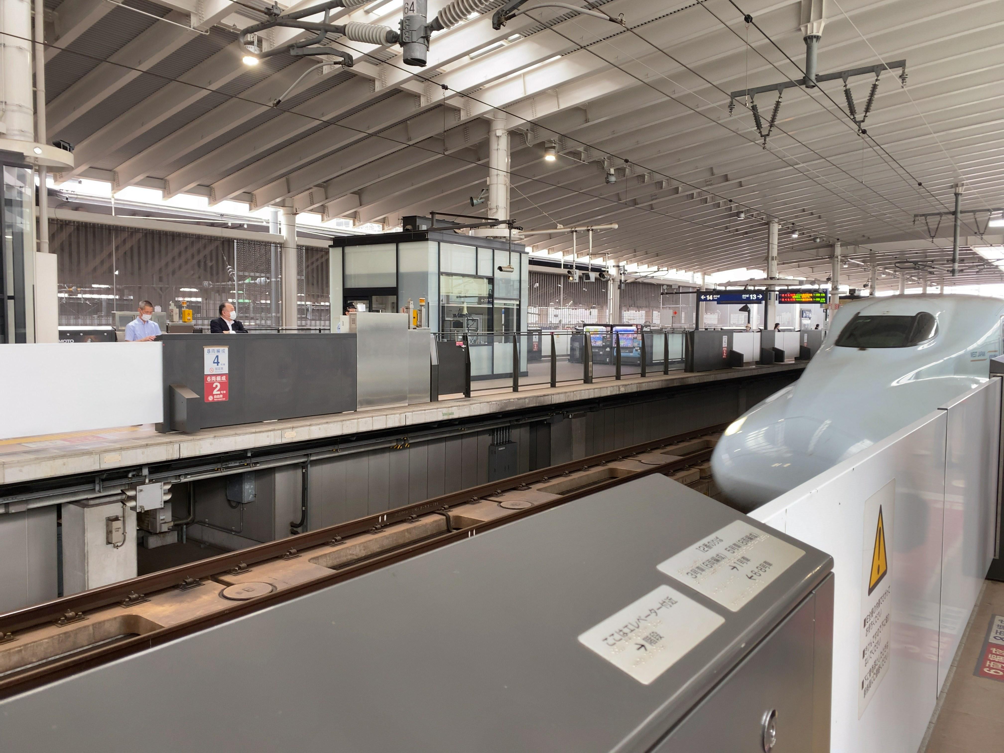 新幹線と駅のホーム